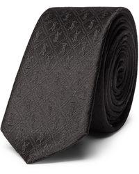Saint Laurent 4cm Logo-jacquard Silk Tie - Black
