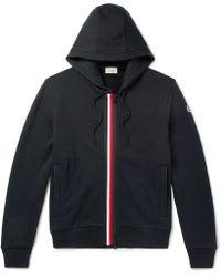 Moncler - Stripes Zip-up Cotton Sweatshirt Hoodie - Lyst