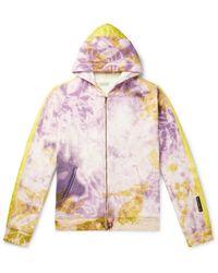 Kapital Ashbury Shell-panelled Tie-dyed Loopback Cotton-jersey Zip-up Hoodie - Purple