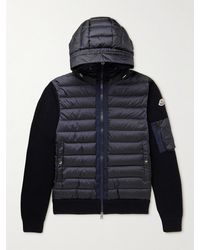 Moncler Slim-fit Panelled Quilted Shell Down And Ribbed Wool-blend Hooded Jacket - Blue
