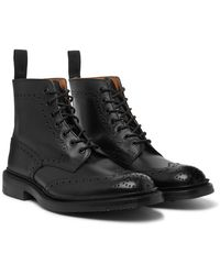 Tricker's Stow Full-grain Leather Brogue Boots - Black