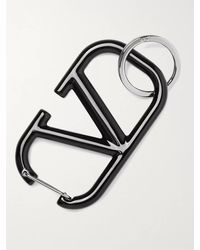 Valentino Garavani Silver-tone And Enamel Key Ring - Black