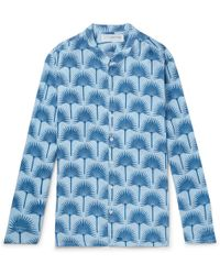 f267f1866c On sale Pink House Mustique - Grandad-collar Printed Linen Shirt - Lyst