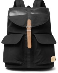 Herschel Supply Co. Dawson Leather-trimmed Waxed Cotton-canvas Backpack - Black