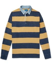 Beams Plus - Chambray-trimmed Striped Cotton-twill Polo Shirt - Lyst