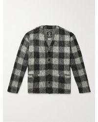 Monitaly Checked Textured-knit Cardigan - Black