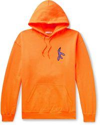 Flagstuff Printed Fleece-back Cotton-blend Jersey Hoodie - Orange