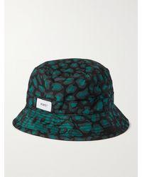 WTAPS Logo-appliquéd Printed Cotton-twill Bucket Hat - Black