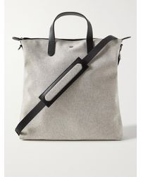 Mismo Leather-trimmed Cotton-canvas Tote Bag - Grey