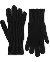 Moncler Logo-appliquéd Virgin Wool Gloves - Black