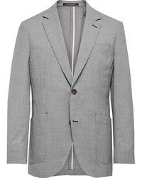 Richard James Spirit Slim-fit Textured Puppytooth Wool And Cotton-blend Suit Jacket - Grey