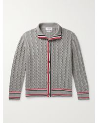 Thom Browne Striped Cable-knit Cotton Cardigan - Grey