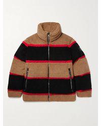 Burberry - Bradfield Logo-appliquéd Striped Fleece Down Jacket - Lyst