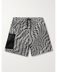 Fendi Mid-length Logo-print Swim Shorts - Black