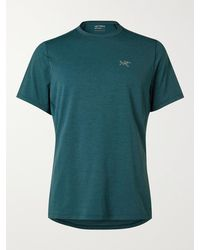 Arc'teryx Cormac Comp Panelled Jersey And Mesh T-shirt - Blue