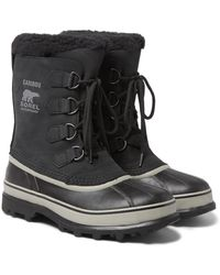 Sorel Caribou Faux Shearling-trimmed Waterproof Nubuck And Rubber Snow Boots - Black