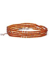 Isaia Silver And Amber Beaded Wrap Bracelet - Orange