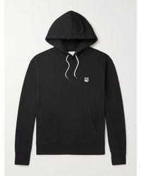 Maison Kitsuné Slim-fit Logo-appliquéd Cotton-jersey Hoodie - Black