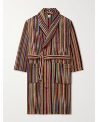 Paul Smith Belted Striped Cotton-terry Robe - Brown