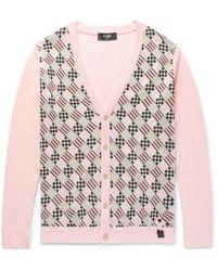 Fendi Slim-fit Jacquard-knit Cotton Cardigan - Pink