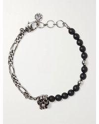 Alexander McQueen Burnished Silver-tone And Bead Bracelet - Metallic
