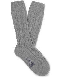 Kingsman Cable-knit Cashmere Socks - Gray