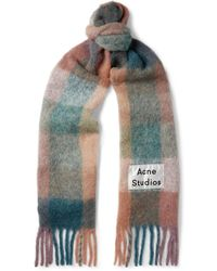 Acne Studios Fringed Logo-appliquéd Checked Knitted Scarf - Multicolour