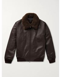 CONNOLLY Goodwood Shearling-trimmed Leather Jacket - Brown