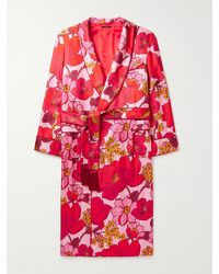 Tom Ford Tasselled Piped Floral-print Silk-twill Robe - Pink