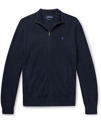Polo Ralph Lauren Honeycomb-knit Pima Cotton Zip-up Cardigan - Blue