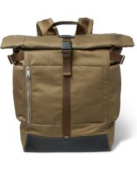 Paul Smith Webbing And Leather-trimmed Cotton-canvas Backpack - Green