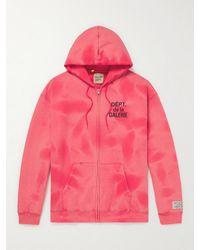 GALLERY DEPT. Logo-print Tie-dyed Cotton-jersey Zip-up Hoodie - Red