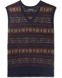 Polo Ralph Lauren - Fair Isle Wool-blend Jacquard Jumper Vest - Lyst