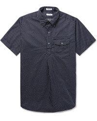 Engineered Garments - Button-down Collar Polka-dot Cotton Oxford Half-placket Shirt - Lyst