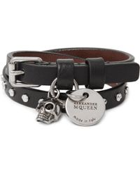 Alexander McQueen - - Studded Leather Wrap Bracelet - Black - Lyst