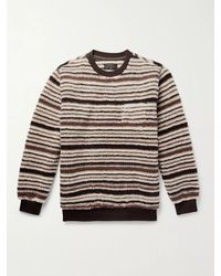 Beams Plus Striped Fleece Sweatshirt - Brown