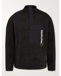 adidas Originals Fwa Shell-trimmed Faux Suede Sweatshirt - Black