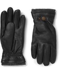 Hestra - Utsjö Fleece-lined Full-grain Leather And Wool-blend Gloves - Lyst