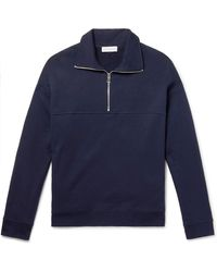 NINETY PERCENT Loopback Organic Cotton-jersey Half-zip Sweatshirt - Blue