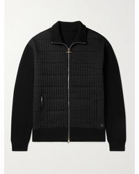 Dunhill Ribbed Wool And Quilted Shell Jacket - Black
