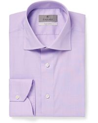 Canali - Purple End-on-end Cotton Shirt - Lyst