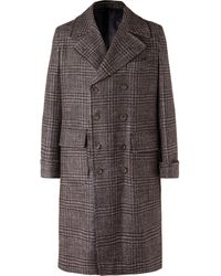 Rubinacci Double-breasted Houndstooth Virgin Wool, Linen And Cashmere-blend Overcoat - Brown