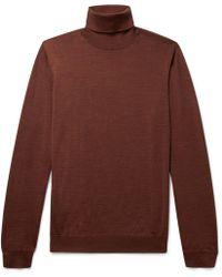 Lanvin - Slim-fit Mélange Wool Rollneck Sweater - Lyst