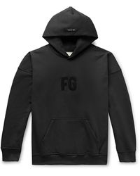 Fear Of God Everyday Logo-appliqué Cotton-jersey Hoody - Black