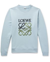 Loewe Slim-fit Logo-embroidered Loopback Cotton-jersey Sweatshirt - Blue