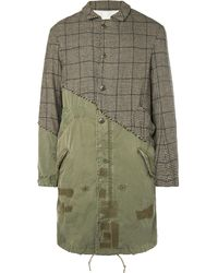 Greg Lauren - Panelled Distressed Puppytooth Alpaca And Cotton-canvas Coat - Lyst