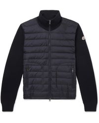 Moncler - Panelled Jersey And Quilted Shell Down Jacket - Lyst