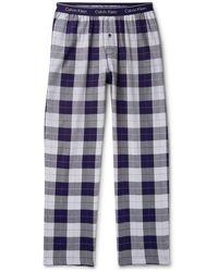 Calvin Klein Checked Cotton-blend Flannel Pyjama Pants - Blue