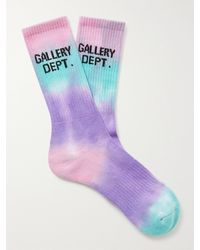 GALLERY DEPT. Clean Logo-jacquard Tie-dyed Recycled Cotton-blend Socks - Purple