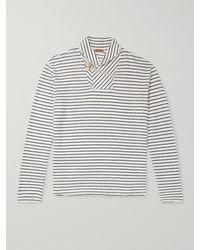 Barena Shawl-collar Striped Linen-jersey T-shirt - Multicolour